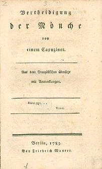 Vertheidigung der Mönche von einem Capuziner. Aus dem französischen übersetzt mit Anmerkungen.