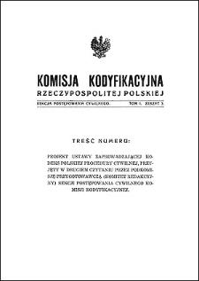 Komisja Kodyfikacyjna Rzeczypospolitej Polskiej. Sekcja Postępowania Cywilnego. T. 1, z. 3