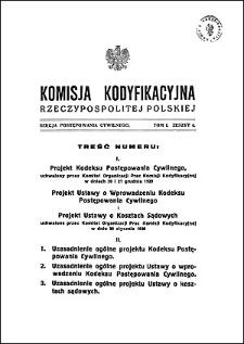 Komisja Kodyfikacyjna Rzeczypospolitej Polskiej. Sekcja Postępowania Cywilnego. T. 1, z. 6