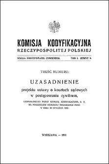 Komisja Kodyfikacyjna Rzeczypospolitej Polskiej. Sekcja Postępowania Cywilnego. T. 1, z. 8