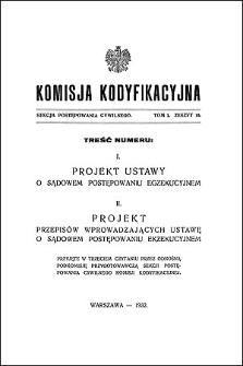 Komisja Kodyfikacyjna Rzeczypospolitej Polskiej. Sekcja Postępowania Cywilnego. T. 1, z. 10