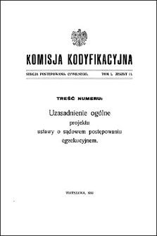Komisja Kodyfikacyjna Rzeczypospolitej Polskiej. Sekcja Postępowania Cywilnego. T. 1, z. 11