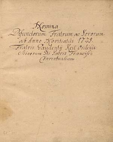 Nomina defunctorum Fratrum ac Sororum ab anno novitiatus 1729 Fratris Gaudentii Keil Ordinis Minorum Sancti Patris Francisci Conventualium