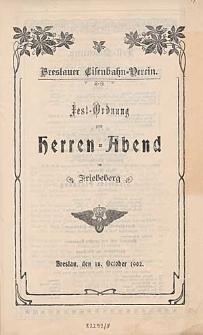 Fest-Ordnung zum Herren-Abend im Friebeberg : Breslau den 18. October 1902