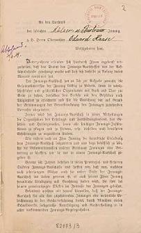 An den Vorstand der löblichen Mälzer- und Bierbrauer-Innung z. H. Herrn Obermeister Eduard Haase