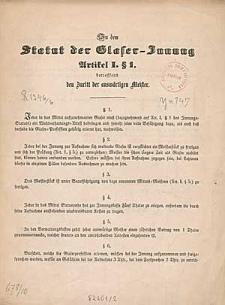 Zu dem Statut der Glaser-Innung Artikel I. § 1. betreffend den Zutritt der auswärtiger Meister
