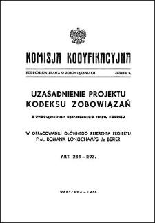 Komisja Kodyfikacyjna. Podkomisja Prawa o Zobowiązaniach. Z. 6