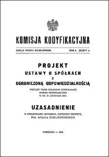 Komisja Kodyfikacyjna. Sekcja Prawa Handlowego, T. 1, z. 4