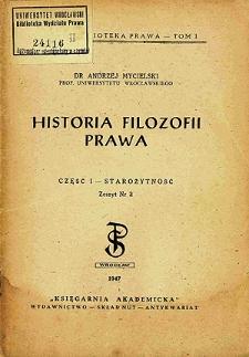 Historia filozofii prawa. Cz. 1, Starożytność. Z. 2