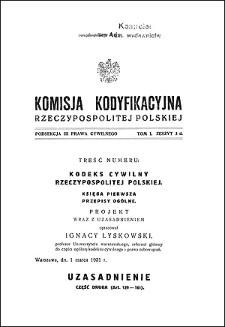 Komisja Kodyfikacyjna Rzeczypospolitej Polskiej. Podsekcja 3 Prawa Cywilnego. T. 1, z. 3d