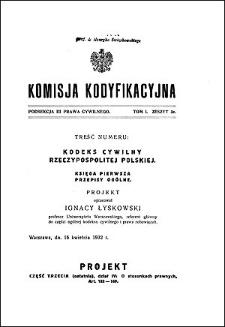 Komisja Kodyfikacyjna Rzeczypospolitej Polskiej. Podsekcja 3 Prawa Cywilnego. T. 1, z. 3e