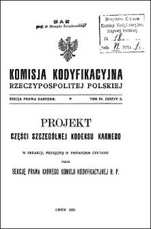 Komisja Kodyfikacyjna Rzeczypospolitej Polskiej. Sekcja Prawa Karnego. T. 4, z. 3