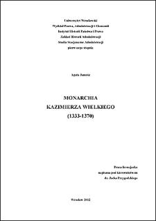 Monarchia Kazimierza Wielkiego (1333-1370). Rozdz. 1, Początek panowania Kazimierza Wielkiego