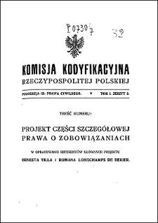 Komisja Kodyfikacyjna Rzeczypospolitej Polskiej. Podsekcja 3 Prawa Cywilnego. T. 1, z. 2