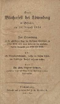 Das Blücherfest bei Löwenberg in Schlesien, am 30. August 1834.