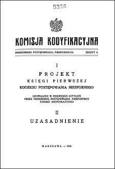 Komisja Kodyfikacyjna. Podkomisja Postępowania Niespornego. Z. 1