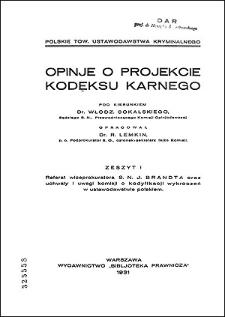 Opinje o projekcie kodeksu karnego. Z. 1