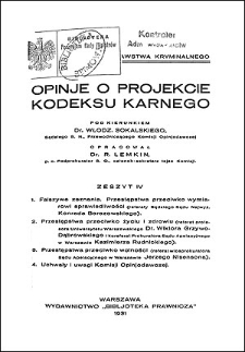 Opinje o projekcie kodeksu karnego. Z. 4