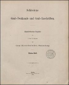 Alphabetisches Register des 1. bis 15. Bandes der Graf Hoverden'schen Sammlung