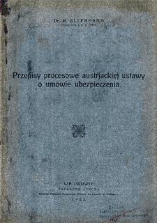 Przepisy procesowe austrjackiej ustawy o umowie ubezpieczenia