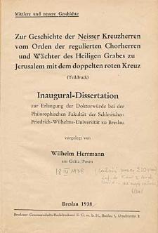 Zur Geschichte der Naisser Kreuzherren vom Orden der regulierten Chorherren und Wächter des Heiligen Grabes zu Jerusalem mit dem doppelten roten Kreuz