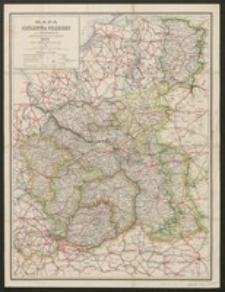 Mapa Królestwa Polskiego przez P.A.Baracza z oznaczeniem odległości na drogach żelaznych, bitych i zwyczajnych 1914