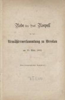 Rede des Prof. Roepell in der Urwählerversammlung zu Breslau am 25. März 1862