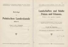 Landschaften und Städte Polens und Litauens : Beitr. zu einer regionalen Geographie