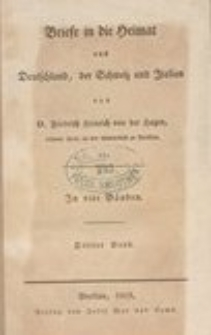 Briefe in die Heimat aus Deutschland, der Schweiz und Italien. T. 3