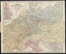 Karte der Eisenbahnen Mittel-Europa's : mit Angabe sämmtlicher Bahnstationen, Hauptpost- und Dampfschifffahrts-Verbindungen