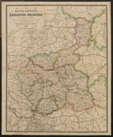 Mappa Gubernii Królestwa Polskiego z oznaczeniem odległości na drogach żelaznych, bitych i zwyczajnych ułożona i litografowana przez Marcellego Gotz