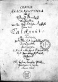 Curiosa Kalckreutensia das ist historisch-genealogische Nachrichten