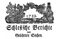 Schlesische Berichte von Gelehrten Sachen. 1759-12-03 Nr 21