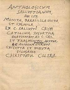Anthologicum Sallustianum, hoc est monita, parallela, dicta et exempla ex Sallustii aliorumque operibus excerpta et digesta