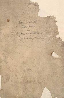 Gedichte Chr. Colers an Andr. Senftleben
