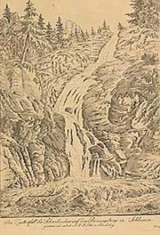Der Zackenfall bei Schreibershau auf den Riesengebirge in Schlesien