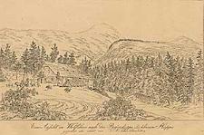 Eine Ansicht in Wolfshau nach der Riesenkoppe und kleinen Koppe