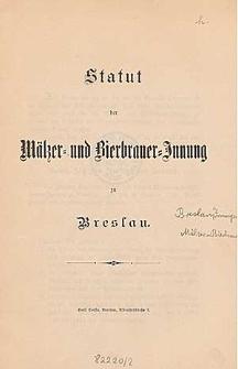 Statut der Mälzer- und Bierbrauer-Innung in Breslau