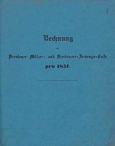 Rechnung bei der Breslauer Mälzer- und Bierbrauer-Mittels-Kasse pro 1851