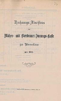 Rechnung-Abschluss der Mälzer- und Bierbrauer-Innungs-Kasse zu Breslau pro 1883