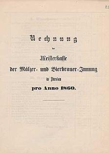 Rechnung der Meisterkasse der Mälzer- und Bierbrauer-Innung in Breslau pro Anno 1857