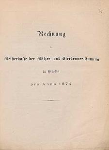 Rechnung der Meisterkasse der Mälzer- und Bierbrauer-Innung in Breslau pro Anno 1873