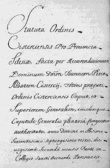 Statuta Ordinis Cisterciensis pro Provincia Silesiae