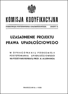 Komisja Kodyfikacyjna. Podkomisja Postępowania Upadłościowego. Z. 3