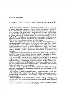 Najpilniejsze zadania historiografii śląskiej