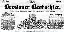 Der Breslauer Beobachter. Ein Unterhaltungs-Blatt für alle Stände. Als Ergänzung zum Breslauer Erzähler. 1842-01-18 Jg. 8 Nr 8