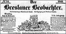 Der Breslauer Beobachter. Ein Unterhaltungs-Blatt für alle Stände. Als Ergänzung zum Breslauer Erzähler. 1842-02-05 Jg. 8 Nr 16