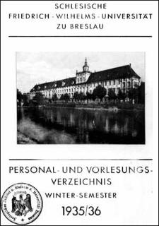 Personal- und Vorlesungs-Verzeichnis Winter-Semester 1935/1936