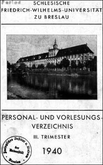 Personal- und Vorlesungs-Verzeichnis III. Trimester 1940