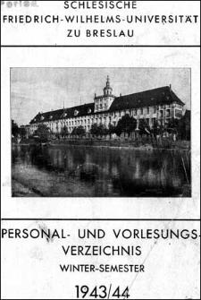 Personal- und Vorlesungs-Verzeichnis Winter-Semester 1943/1944